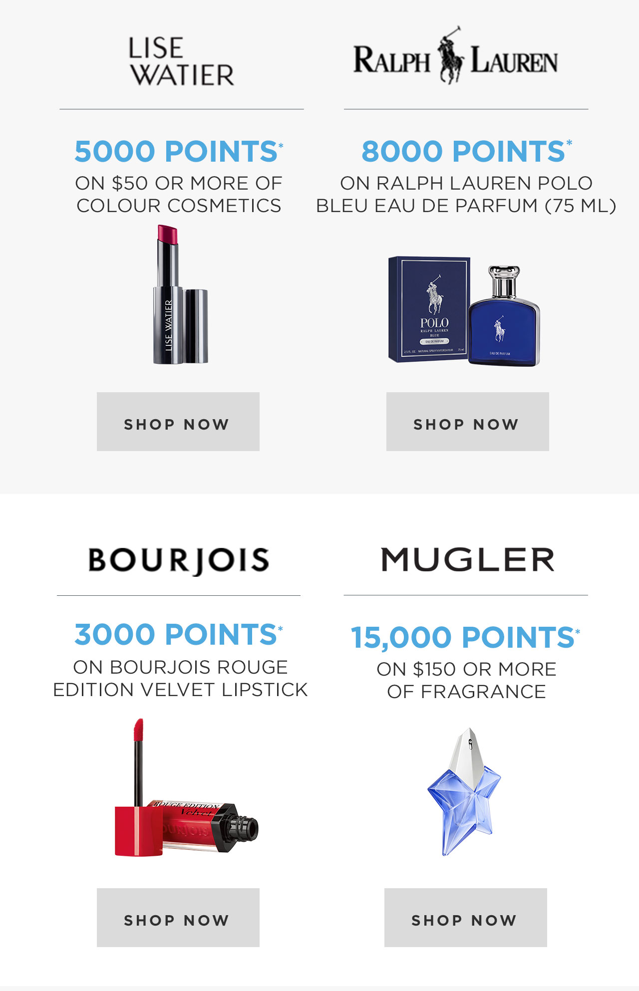 Lise Watier, Ralph Lauren, Bourjois, Mugler OPtimum Offers
