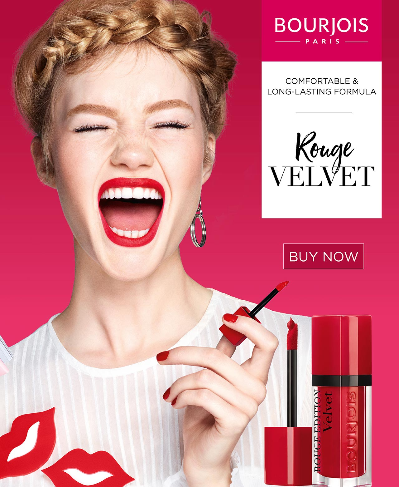 Bourjois Rouge Velvet Ultra-fashionable pout. Matte finish that lasts. Comfortable and long-lasting formula.