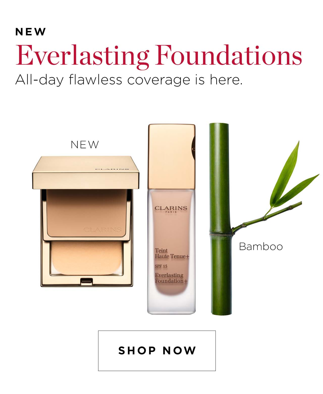 Clarins Everlasting Foundations all-day flawless coverage