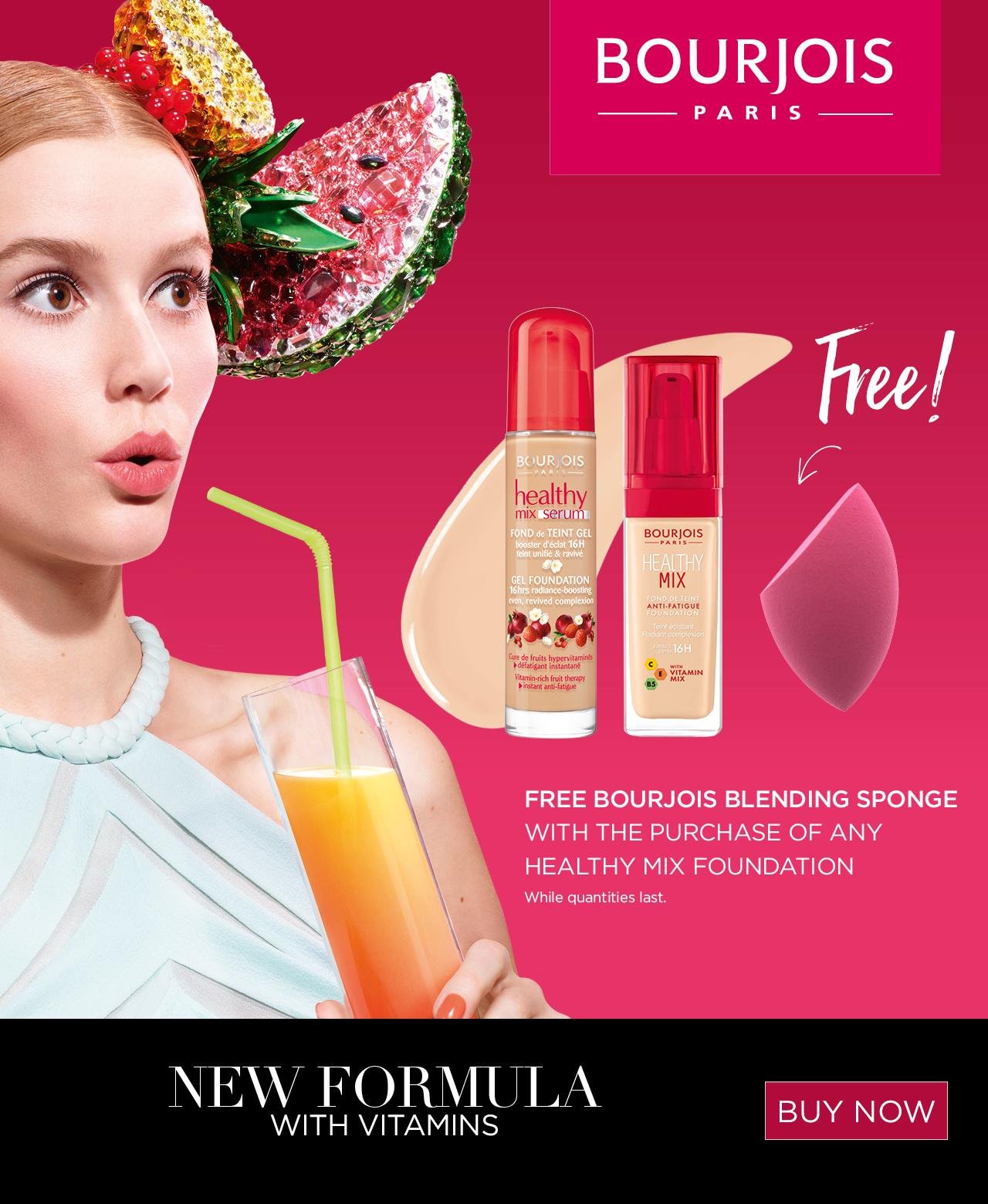 Free Bourjois blending sponge with the purchase of any healthy mix foundation