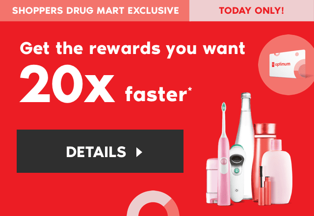 Get 20x the PC Optimum points when you spend $50 or more on almost anything