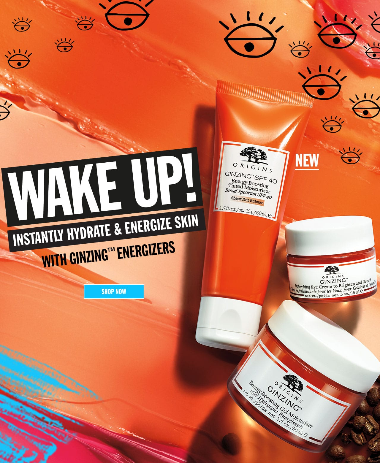 New Origins Ginzing energy-boosting gel moisturizer and SPF 40 tinted moiturizer