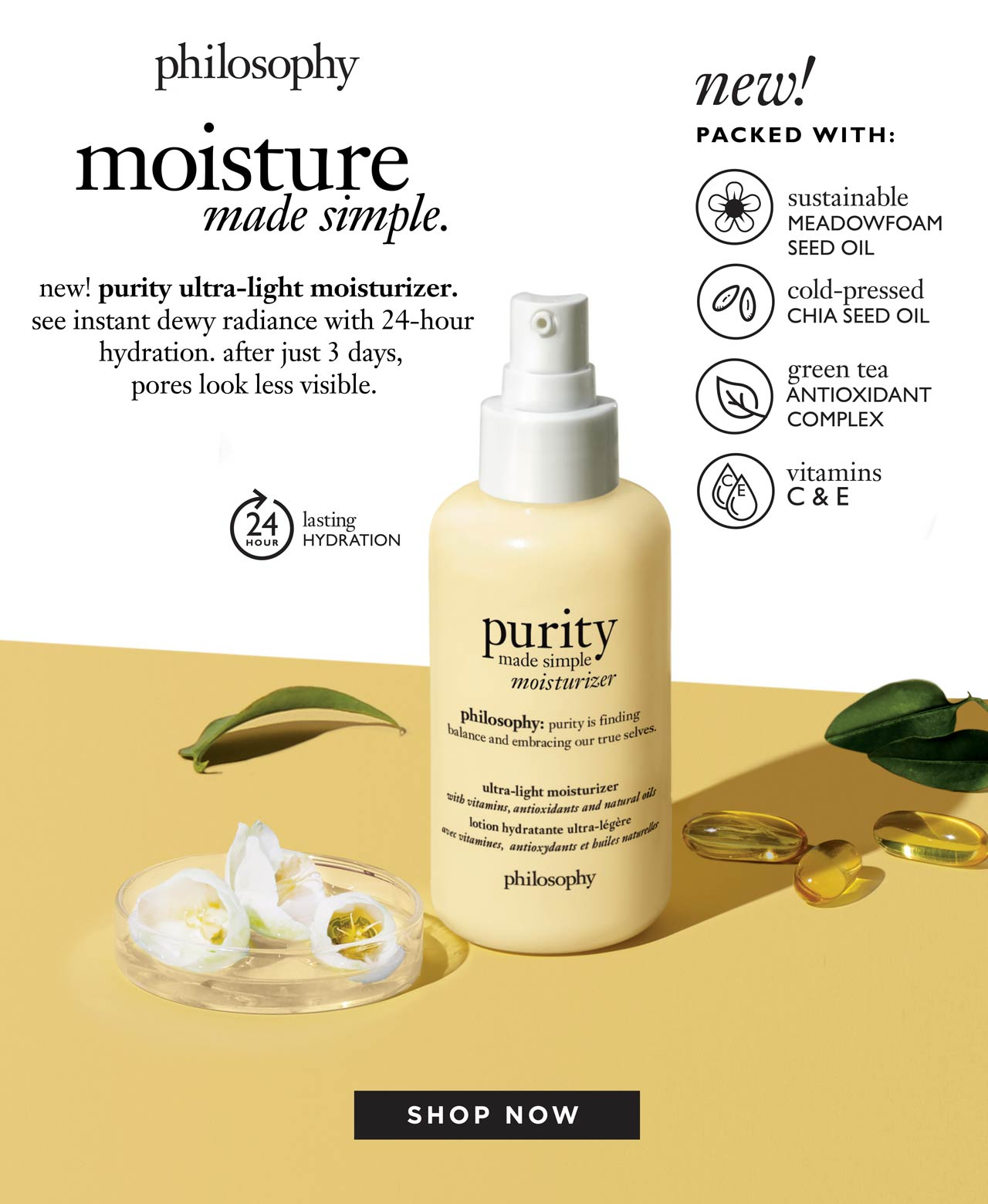 new! Purity ultra-light moisturizer. Shop now