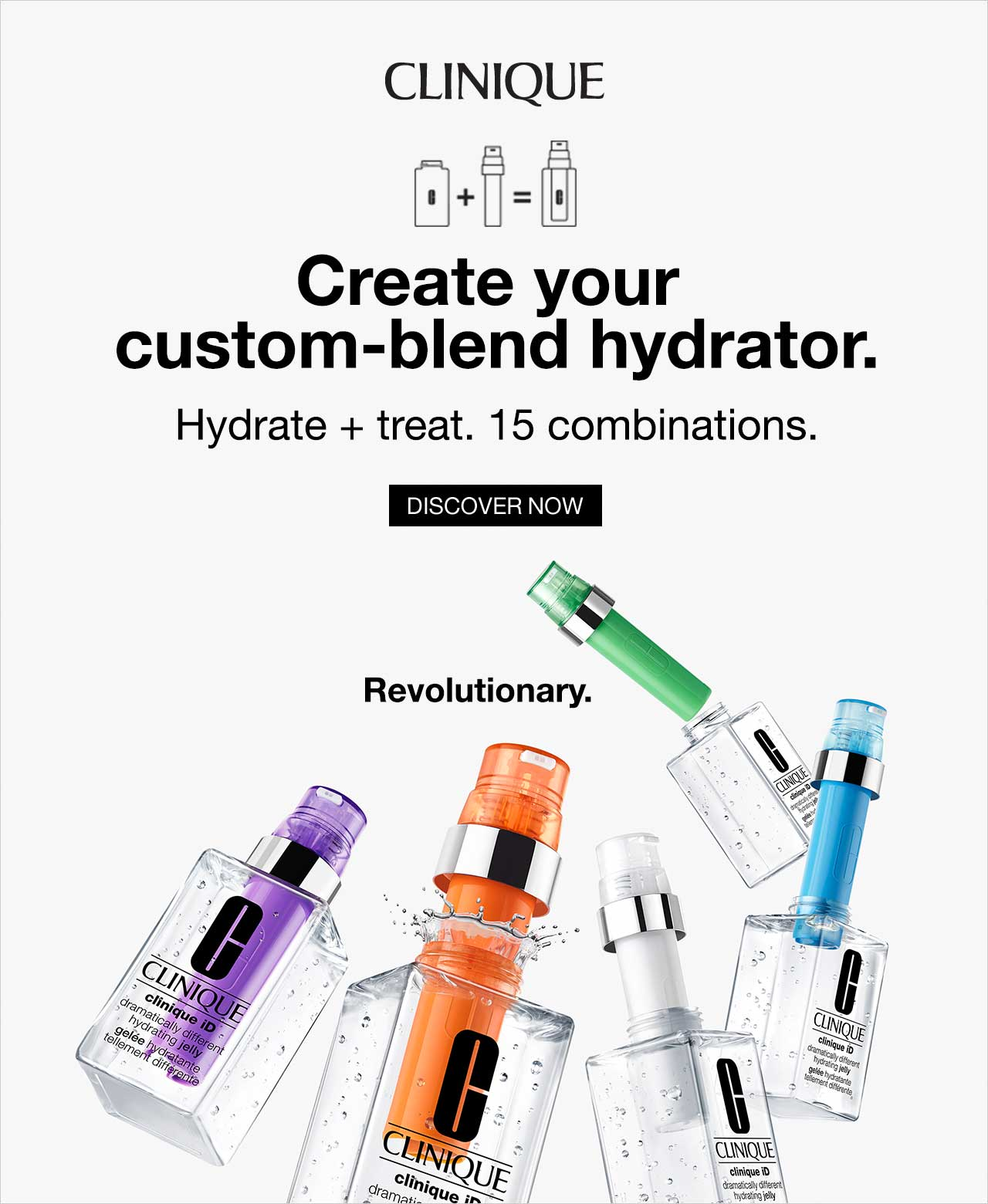 Clinique ID create your custom-blend hydrator. Hydrate + treat 15 combinations. Discover now